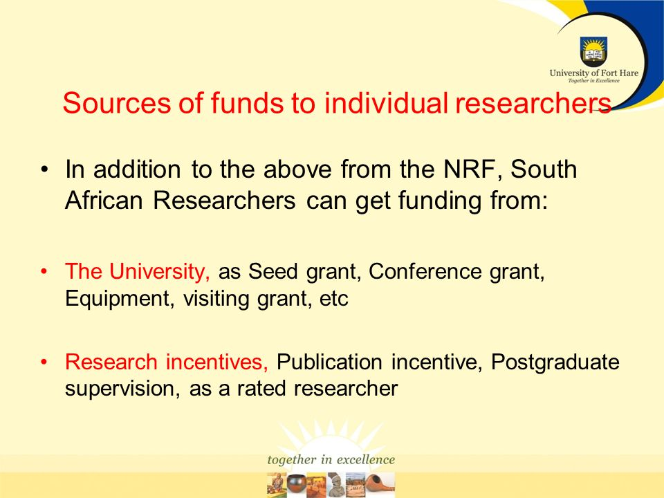 Sources of funds to individual researchers