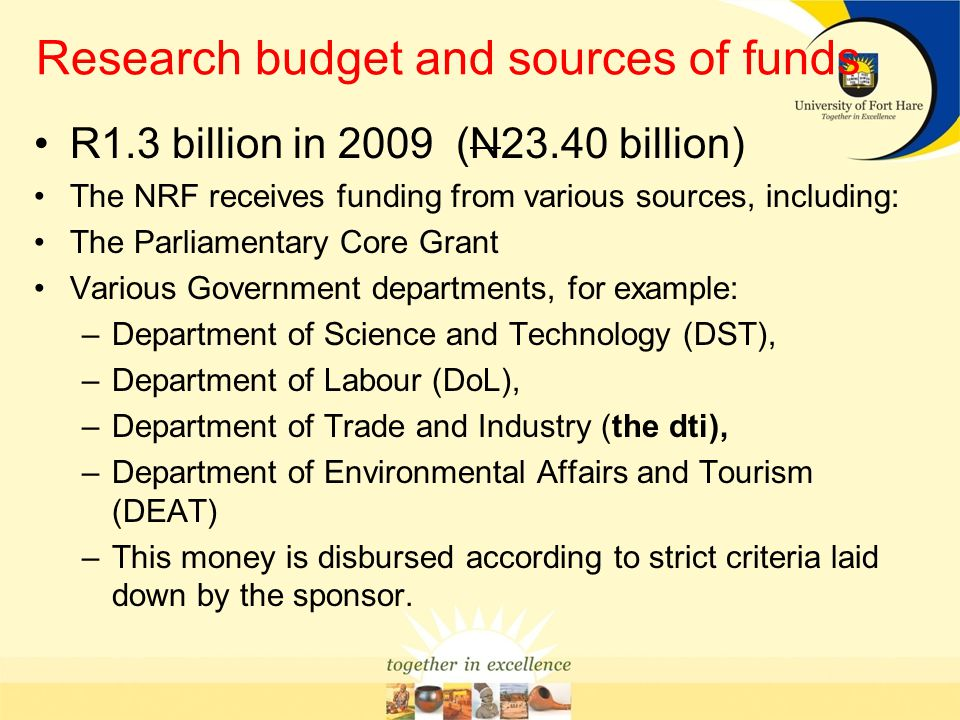 Research budget and sources of funds