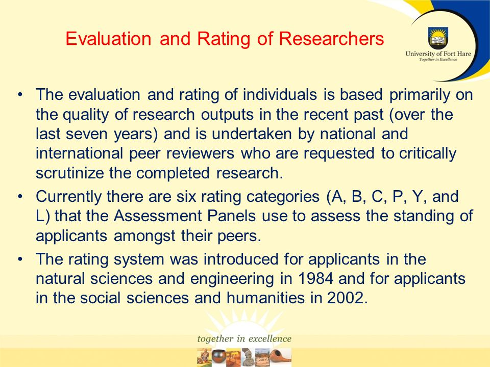 Evaluation and Rating of Researchers
