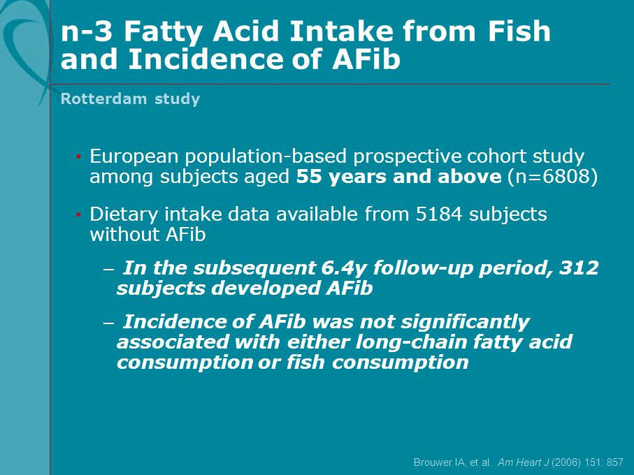 n-3 Fatty Acid Intake from Fish and Incidence of AFib