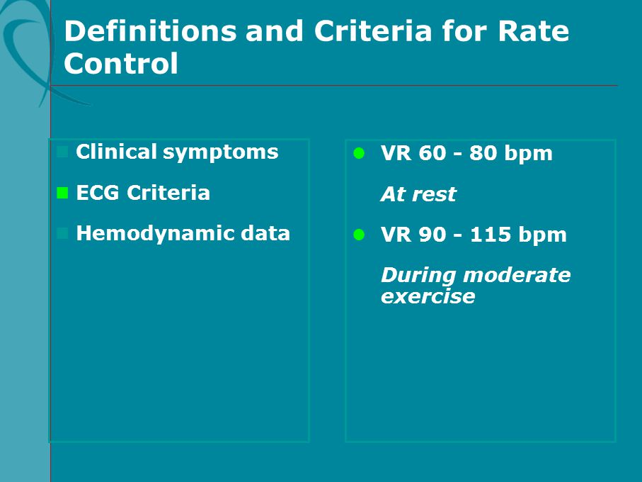 Definitions and Criteria for Rate Control