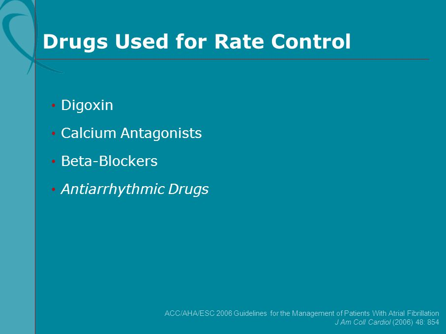 Drugs Used for Rate Control