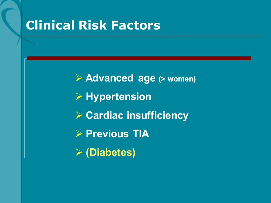 Clinical Risk Factors Advanced age (> women) Hypertension