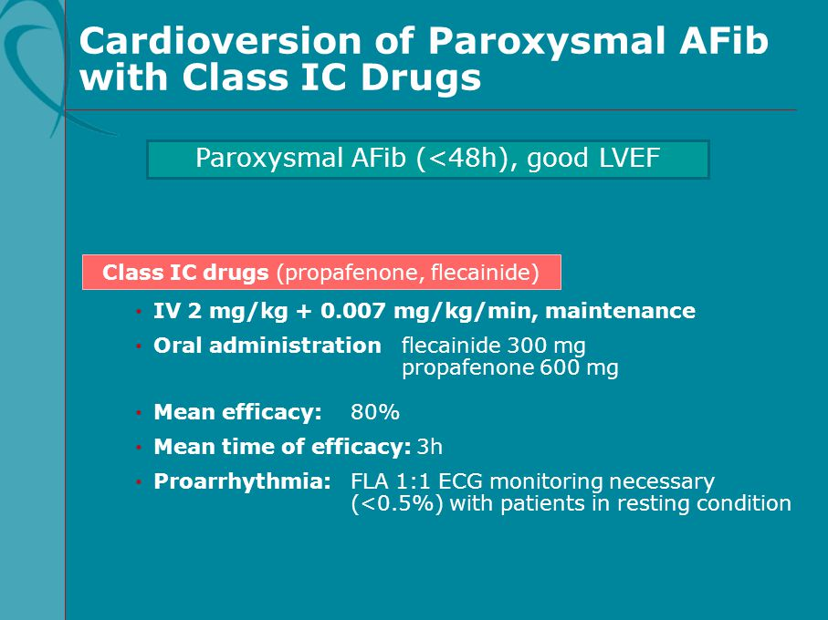 Cardioversion of Paroxysmal AFib with Class IC Drugs