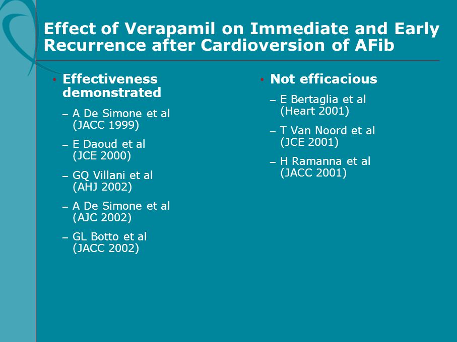 Effect of Verapamil on Immediate and Early Recurrence after Cardioversion of AFib