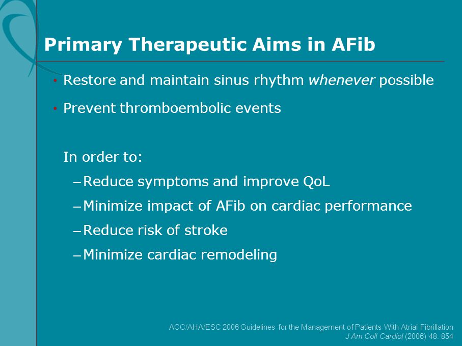 Primary Therapeutic Aims in AFib