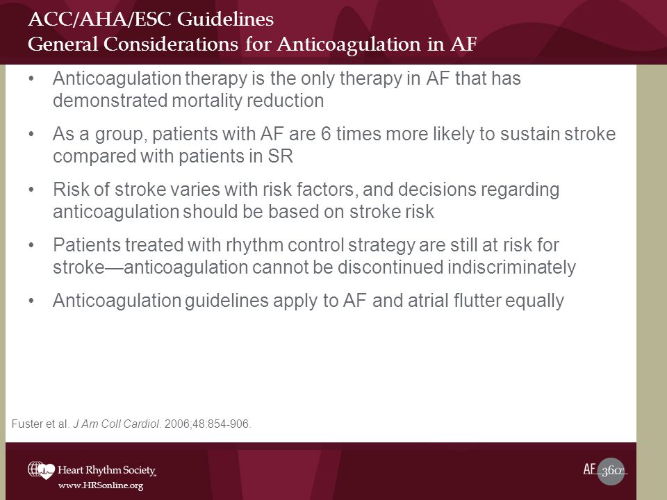 ACC/AHA/ESC Guidelines General Considerations for Anticoagulation in AF