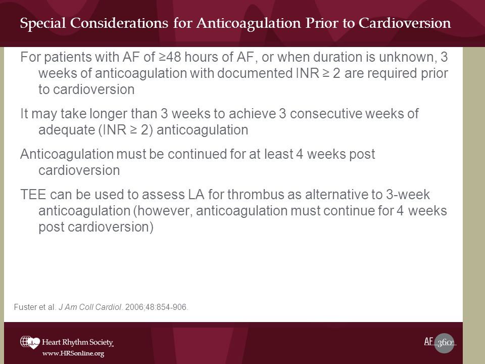 Special Considerations for Anticoagulation Prior to Cardioversion