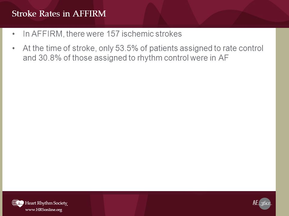 Stroke Rates in AFFIRM In AFFIRM, there were 157 ischemic strokes