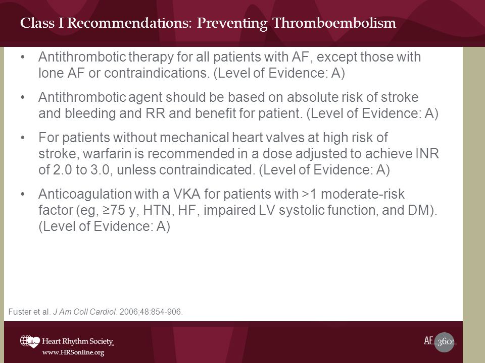 Class I Recommendations: Preventing Thromboembolism