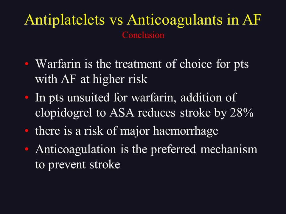 Antiplatelets vs Anticoagulants in AF