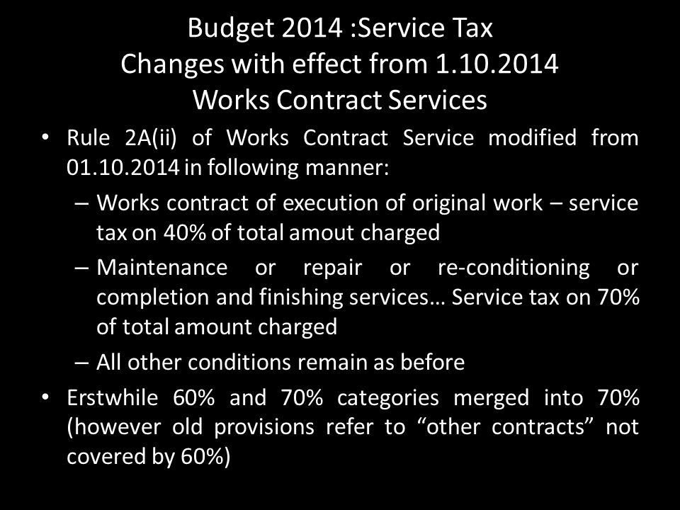 Budget 2014 :Service Tax Changes with effect from 1. 10