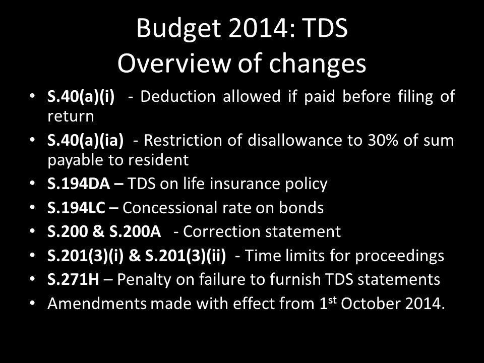 Budget 2014: TDS Overview of changes