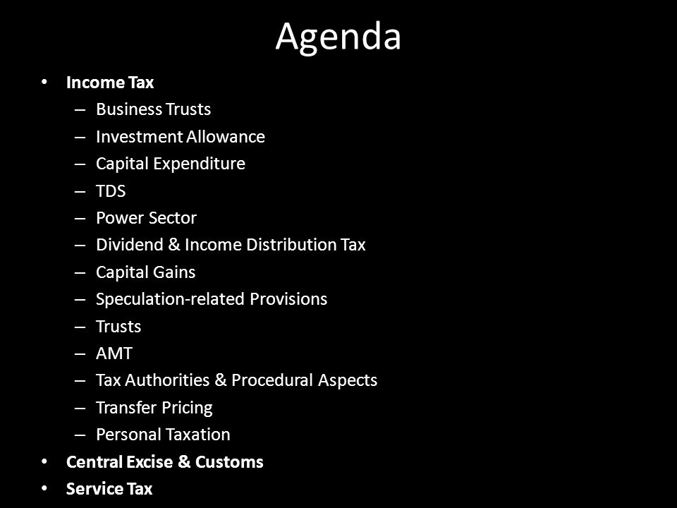 Agenda Income Tax Business Trusts Investment Allowance