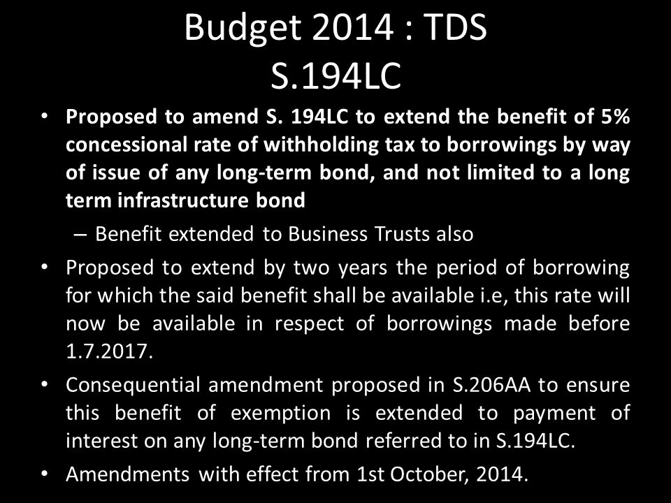Budget 2014 : TDS S.194LC