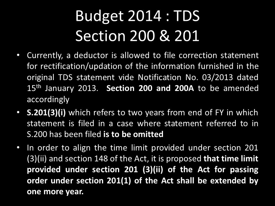 Budget 2014 : TDS Section 200 & 201