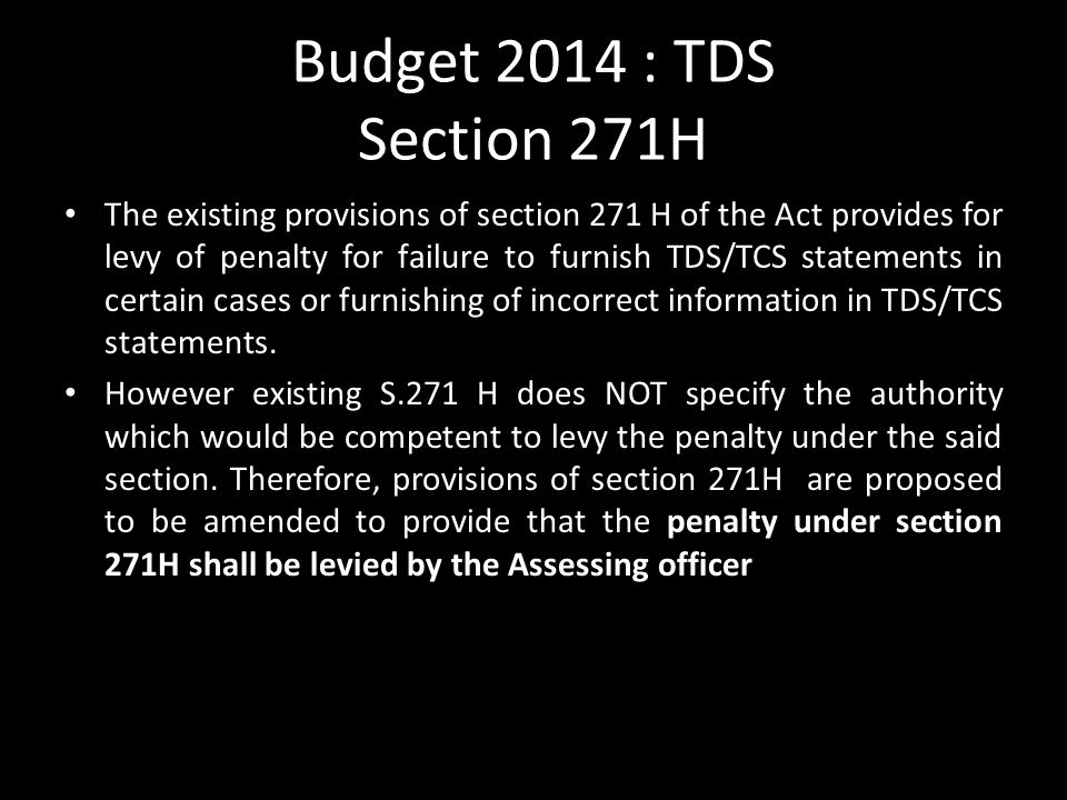 Budget 2014 : TDS Section 271H