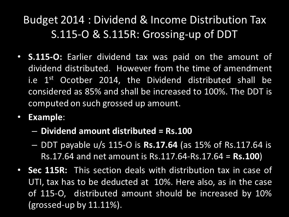 Budget 2014 : Dividend & Income Distribution Tax S. 115-O & S