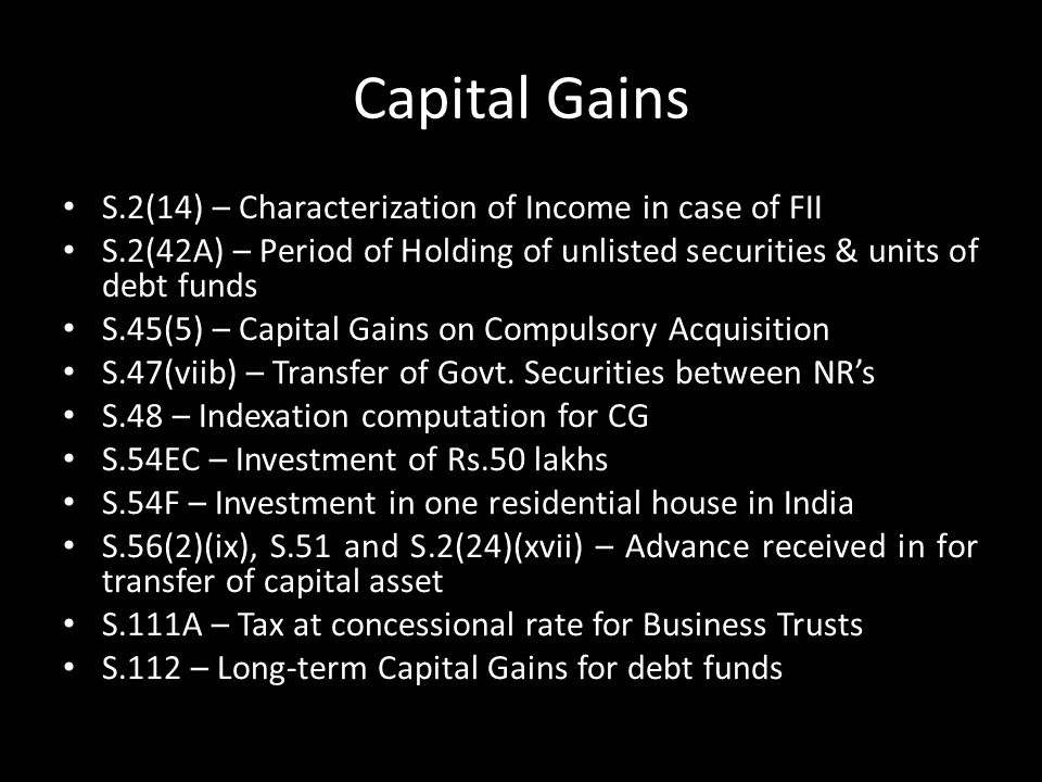 Capital Gains S.2(14) – Characterization of Income in case of FII