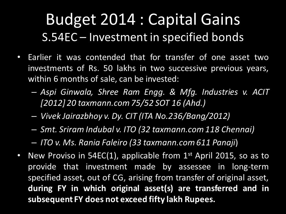 Budget 2014 : Capital Gains S.54EC – Investment in specified bonds