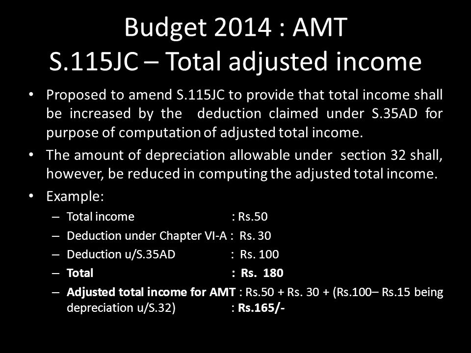 Budget 2014 : AMT S.115JC – Total adjusted income