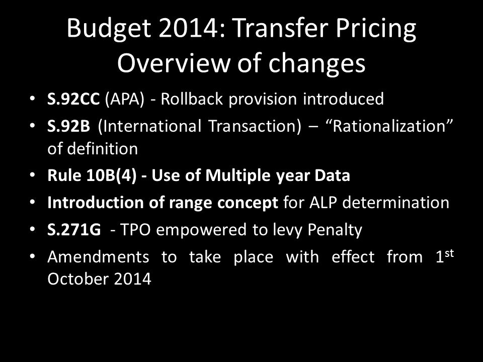 Budget 2014: Transfer Pricing Overview of changes