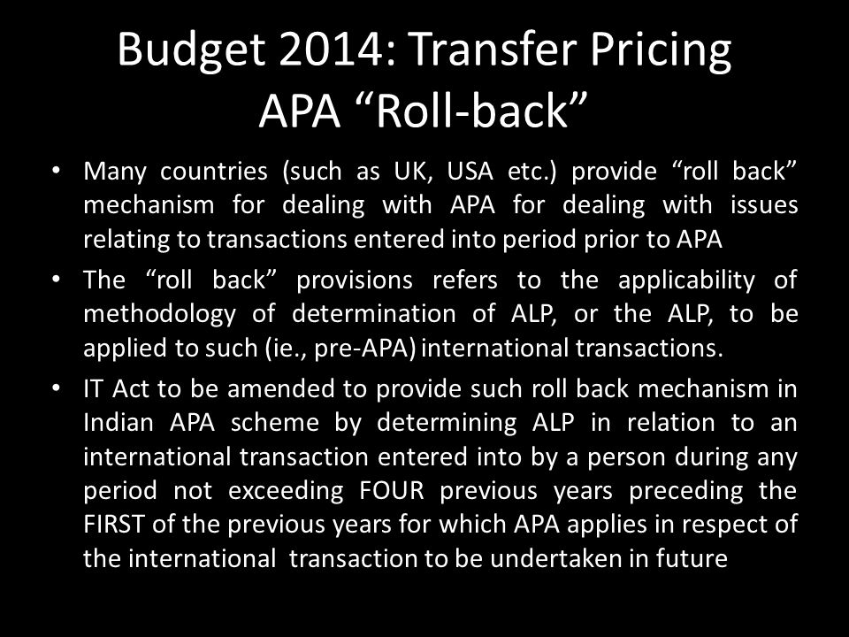 Budget 2014: Transfer Pricing APA Roll-back