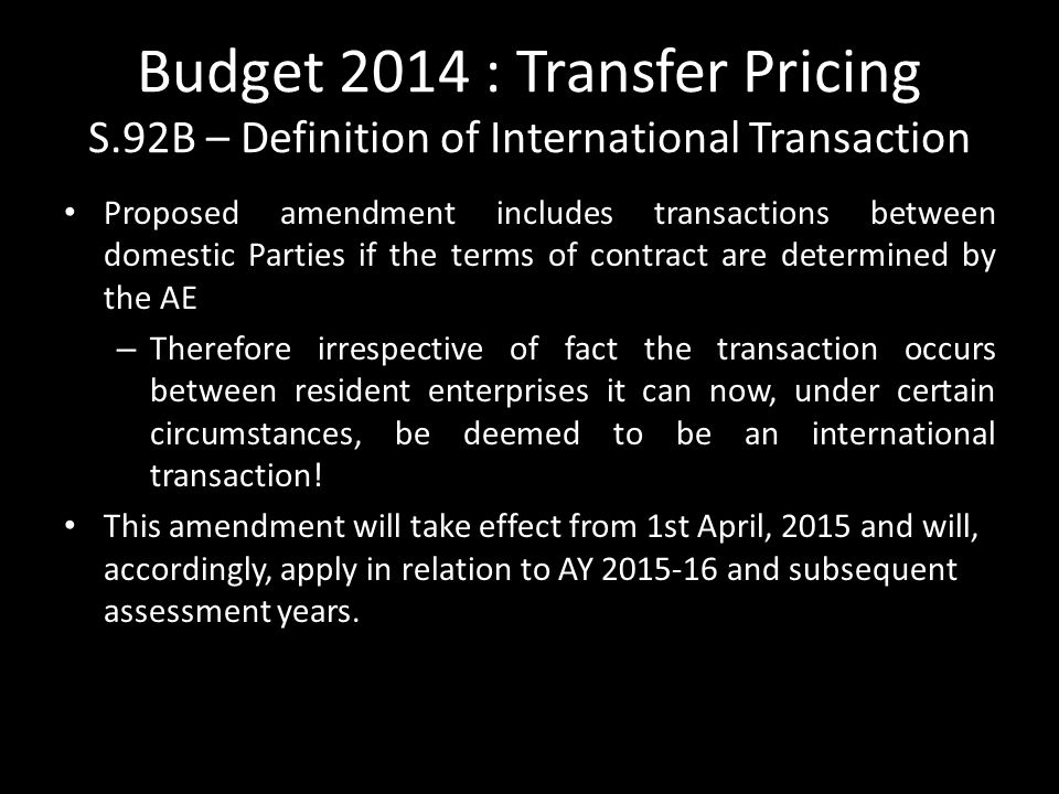 Budget 2014 : Transfer Pricing S