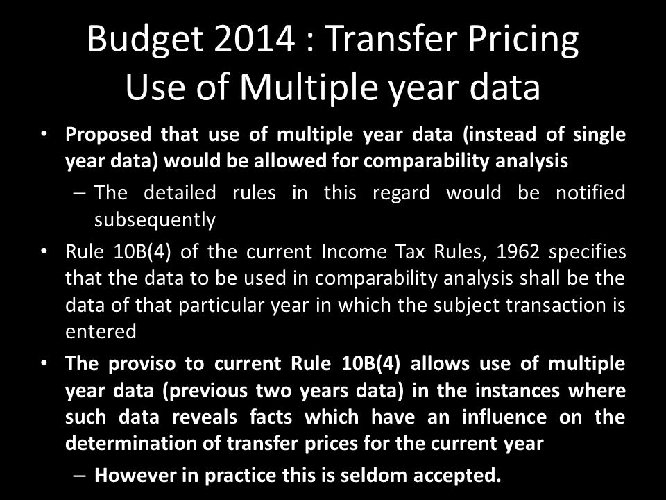 Budget 2014 : Transfer Pricing Use of Multiple year data
