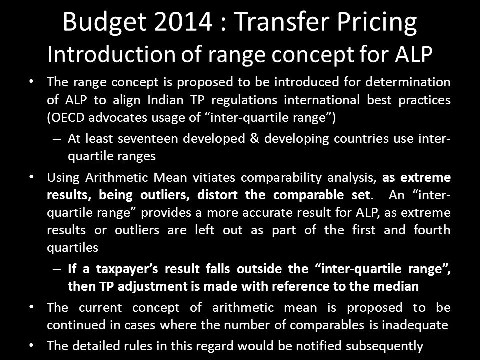 Budget 2014 : Transfer Pricing Introduction of range concept for ALP