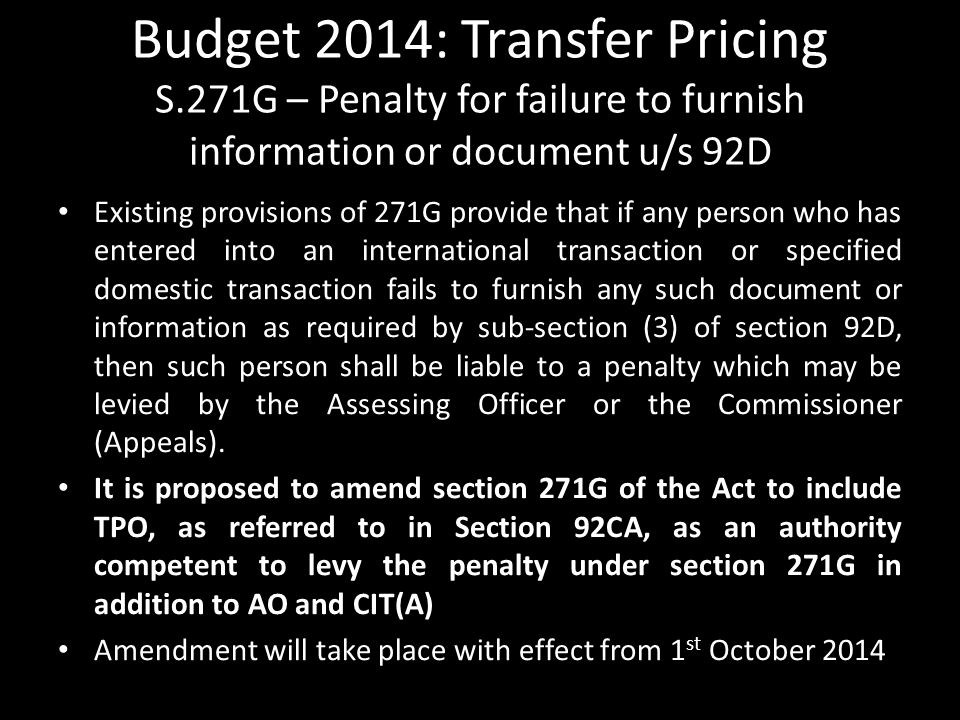 Budget 2014: Transfer Pricing S