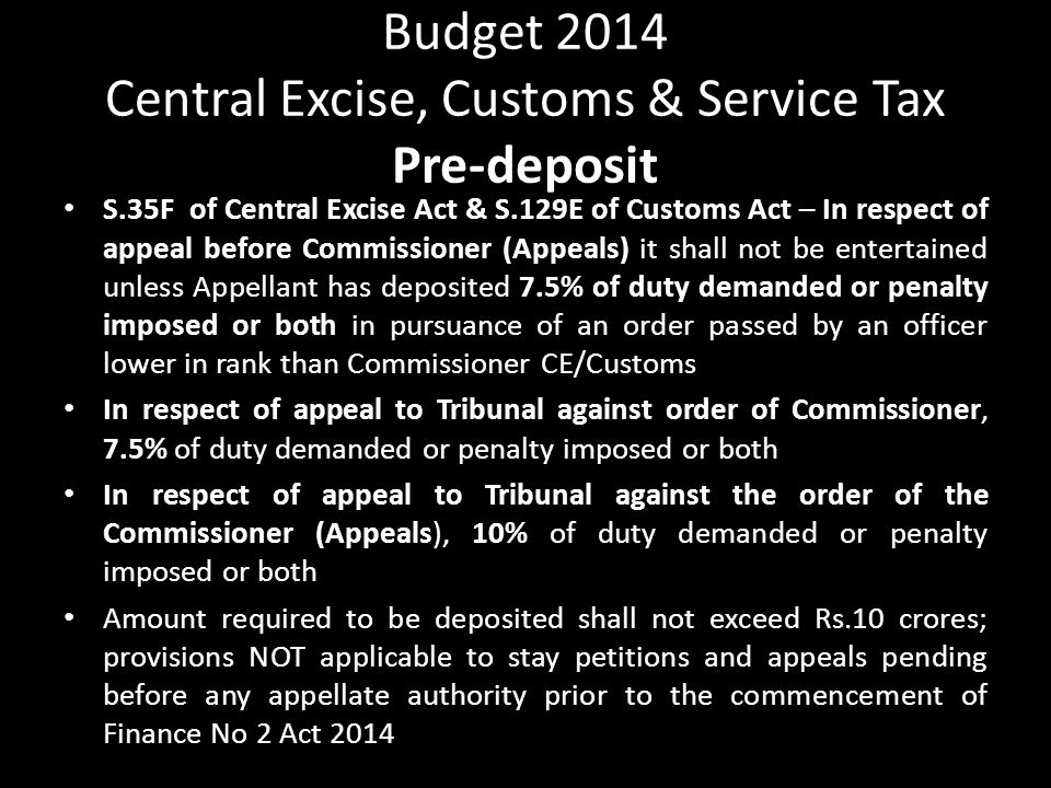 Budget 2014 Central Excise, Customs & Service Tax Pre-deposit