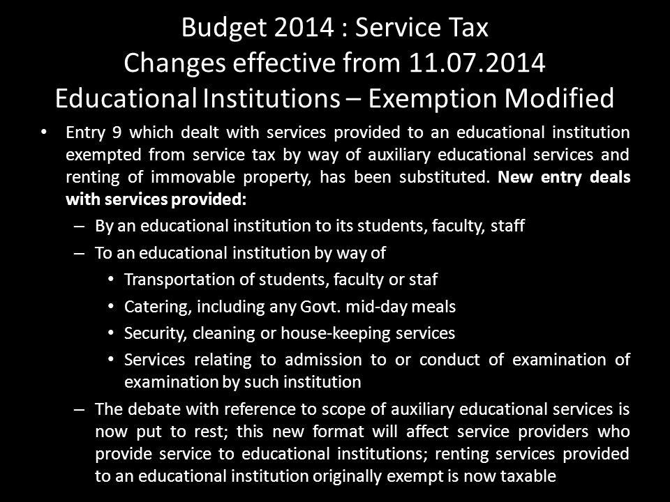 Budget 2014 : Service Tax Changes effective from 11. 07