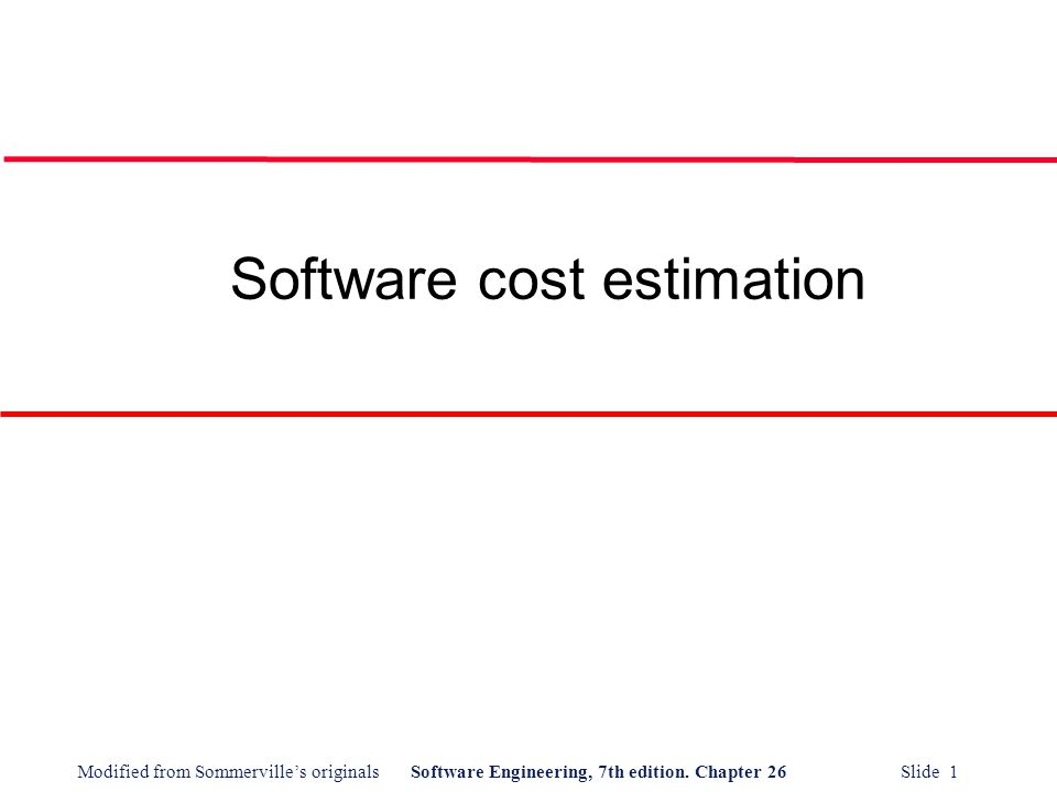 Software cost estimation