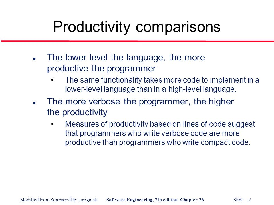 Productivity comparisons