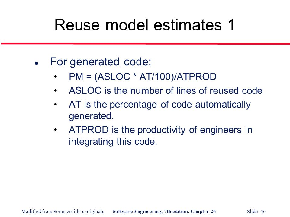 Reuse model estimates 1 For generated code: