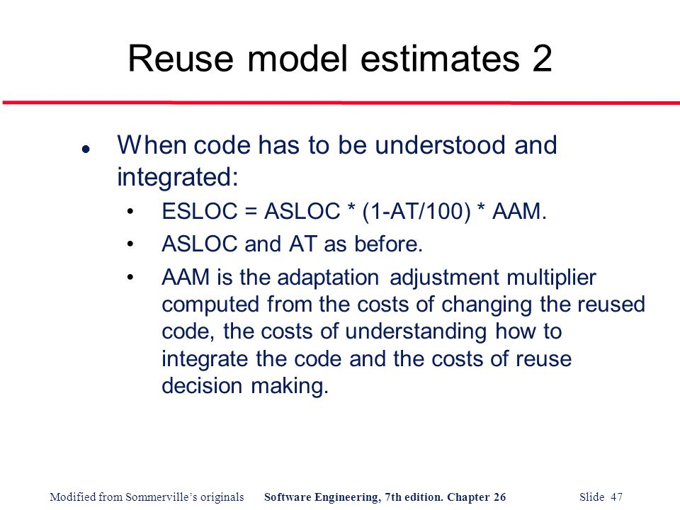 Reuse model estimates 2 When code has to be understood and integrated: