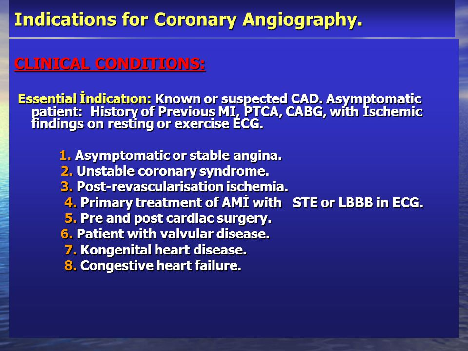 Indications for Coronary Angiography.