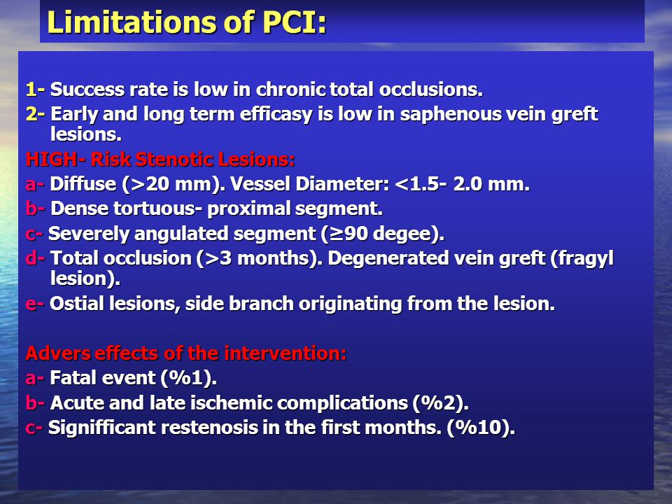Limitations of PCI: 1- Success rate is low in chronic total occlusions. 2- Early and long term efficasy is low in saphenous vein greft lesions.