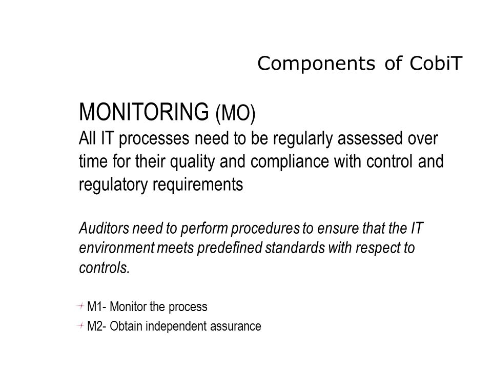 MONITORING (MO) Components of CobiT