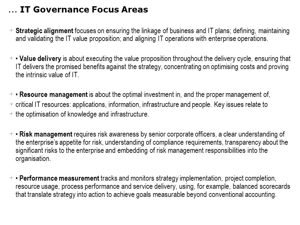 ... IT Governance Focus Areas