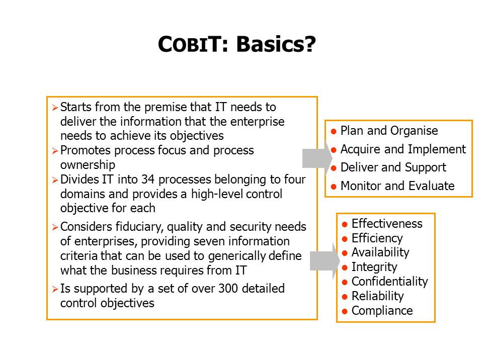 COBIT: Basics Starts from the premise that IT needs to deliver the information that the enterprise needs to achieve its objectives.