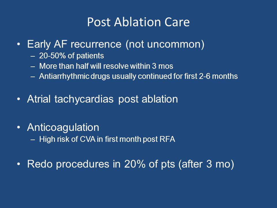 Post Ablation Care Early AF recurrence (not uncommon)
