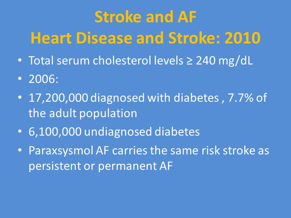 Stroke and AF Heart Disease and Stroke: 2010