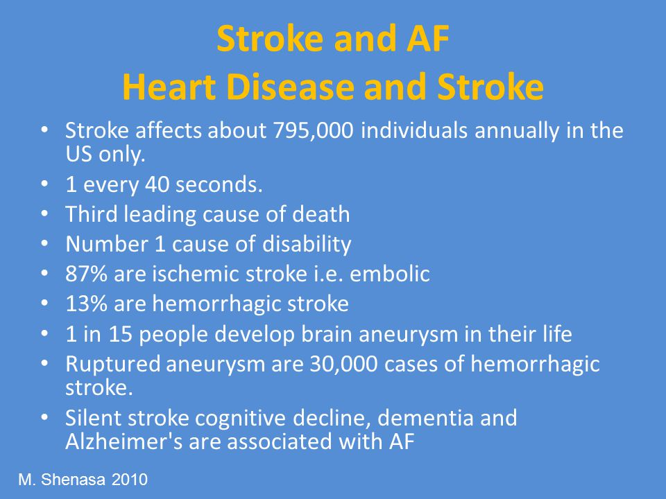 Stroke and AF Heart Disease and Stroke