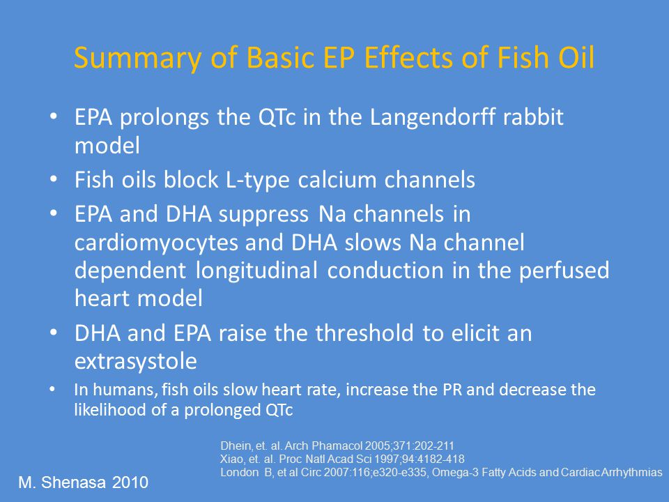 Summary of Basic EP Effects of Fish Oil