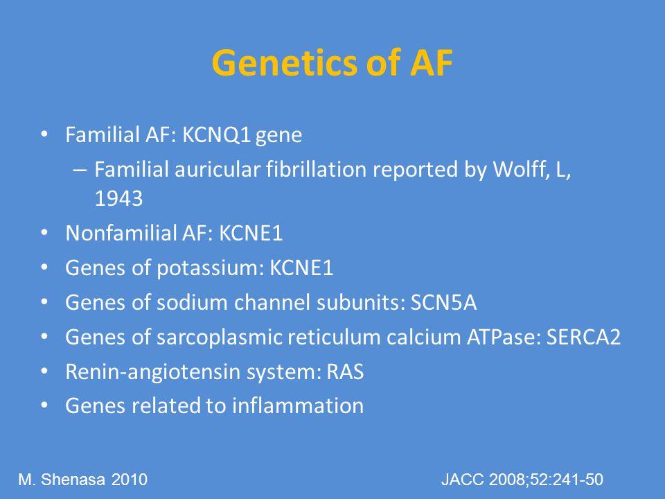 Genetics of AF Familial AF: KCNQ1 gene
