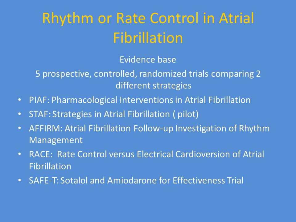 Rhythm or Rate Control in Atrial Fibrillation