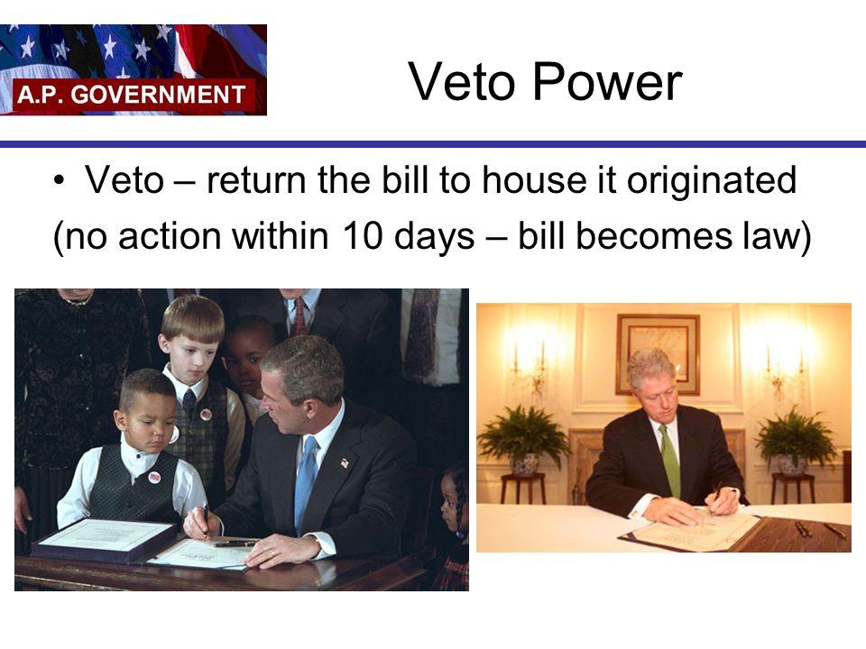 Veto Power Veto – return the bill to house it originated