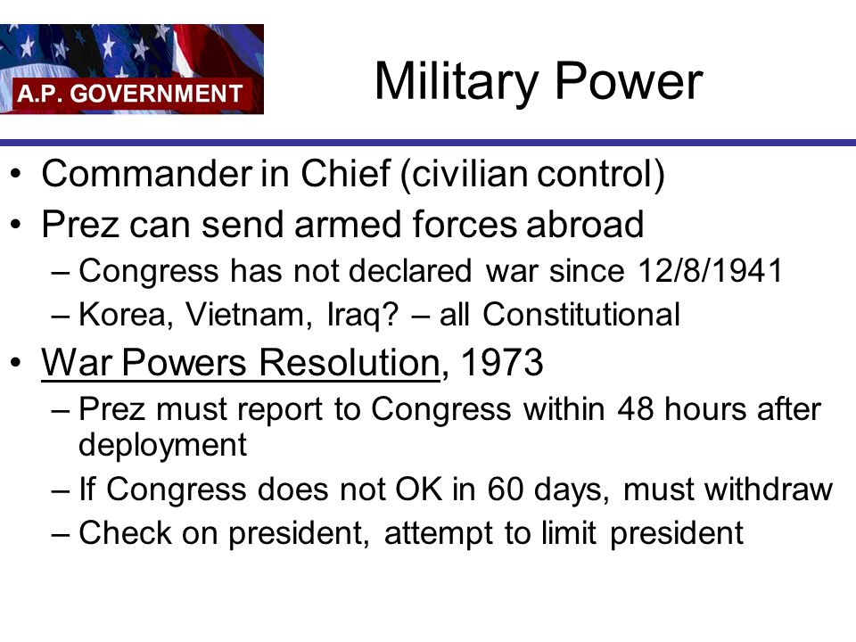 Military Power Commander in Chief (civilian control)